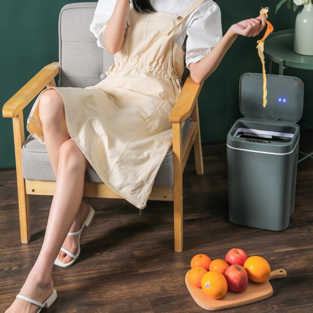 14L Intelligent Trash Can Automatic Smart Sensor Garbage Dustbin Home Electric Rubbish Waste Bin for Office Kitchen Bathroom New enlarge