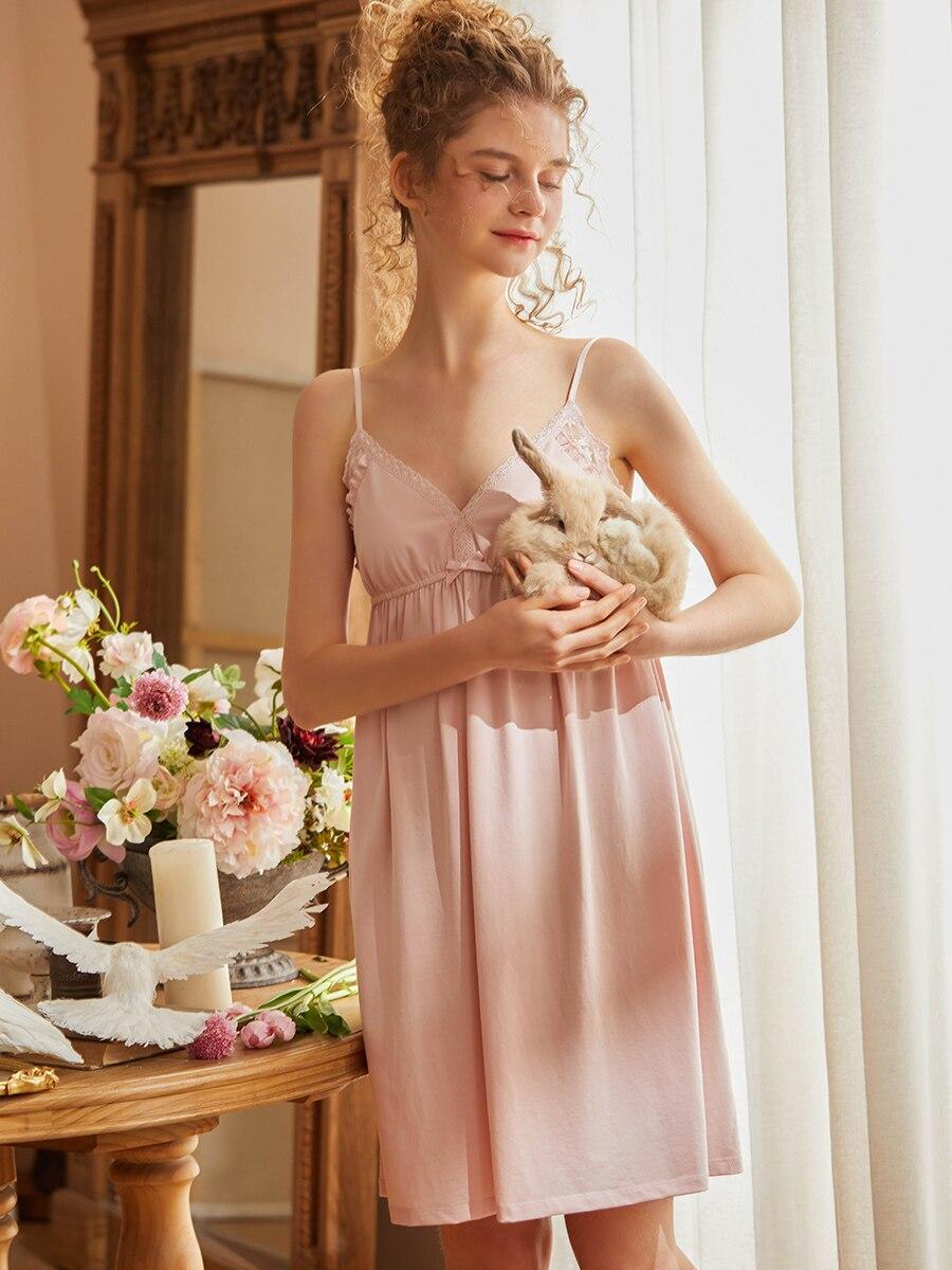 الصيف مثير أكمام قمصان النوم للنساء الخامس الرقبة القطن Vintage الأميرة الإناث فضفاضة زلة ملابس خاصة