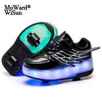 size 28 40 children usb charged glowing roller skate shoes for kids boys girls led lighted double wheels sneakers with lights