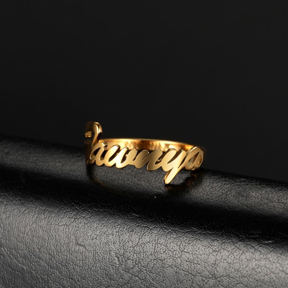 Anillo de nombre personalizado COOLTIME, anillos de oro personalizados, nombres de parejas, nombres de bebé, regalo para novia Madre, joyería de moda 2020