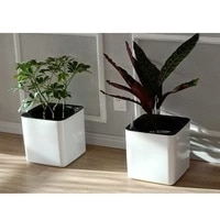 self watering white plastic pot planter for plants orchid flowers with water level indicator