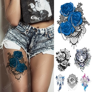 Водостойкая временная татуировка, наклейка, голубая роза, кружево, мандала, хна, флеш-тату, тигр, Бабочка, боди-арт, рука, поддельные татуиров...