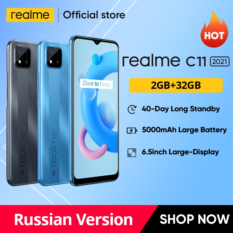 Перейти на Алиэкспресс и купить Realme C11 2021 глобальных Русская версия 2 Гб Оперативная память 32GB Встроенная память 6,5 дюймHD + 5000 мАч долгоиграющий Батарея NFC