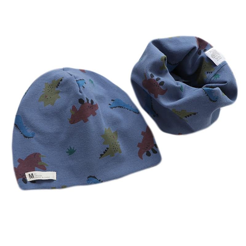 Cartoon Autumn Winter Baby Hat Scarf Sets Boys Girls Neck Scarf Warm Cap Kids Beanies Collar Sets Co