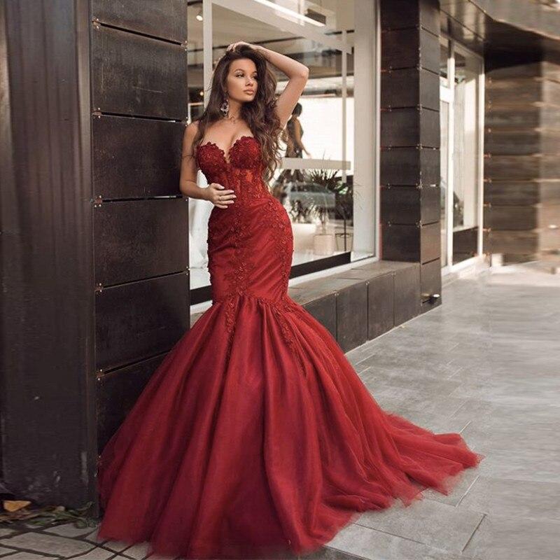 2021 сексуальные красные платья с аппликацией, фатиновые платья для официальной вечеринки, Платья для особых случаев, свадебные платья