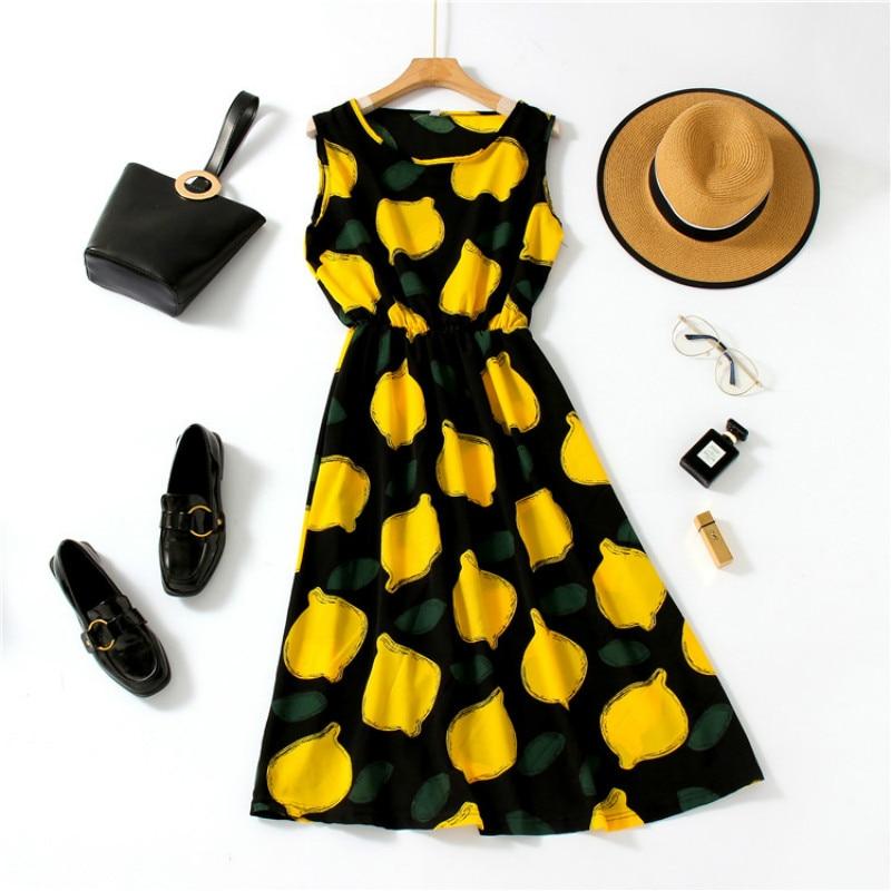2020 verano mujeres vestido elegante Floral estampado sin mangas gasa Casual Vestidos Mujer playa Vestidos Midi Dot moda ropa
