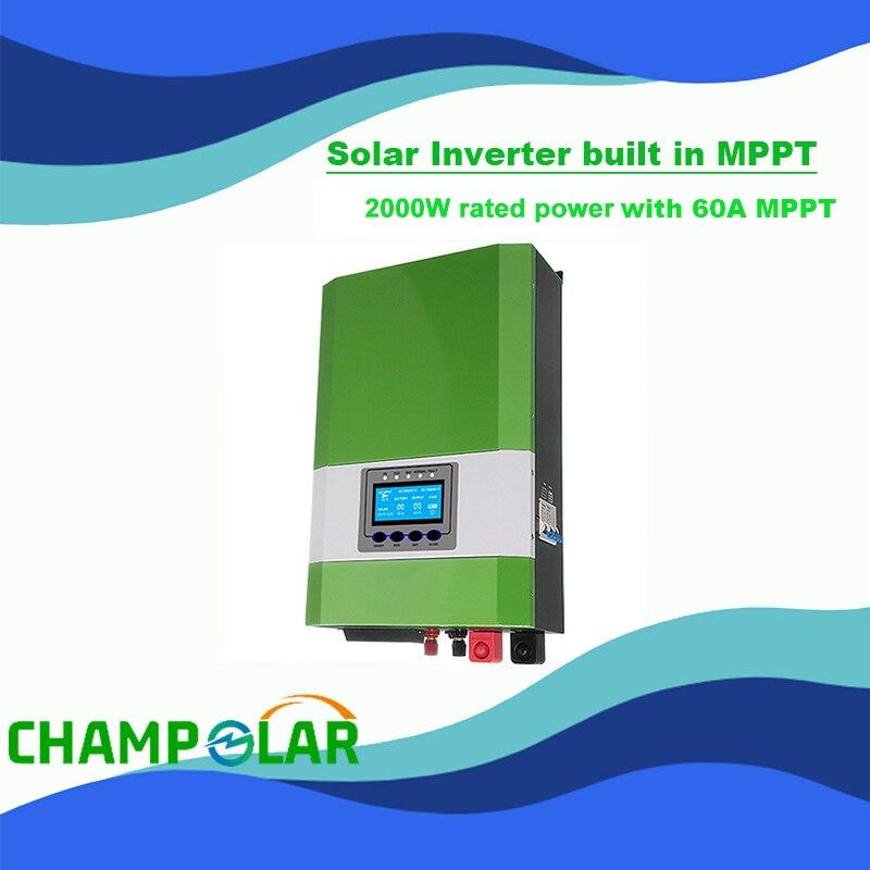 عاكس للطاقة الشمسية 12 فولت ، 220 فولت تيار متردد ، 2000 واط ، 60 أمبير ، MPPT ، مع محول ، مثبت على الحائط