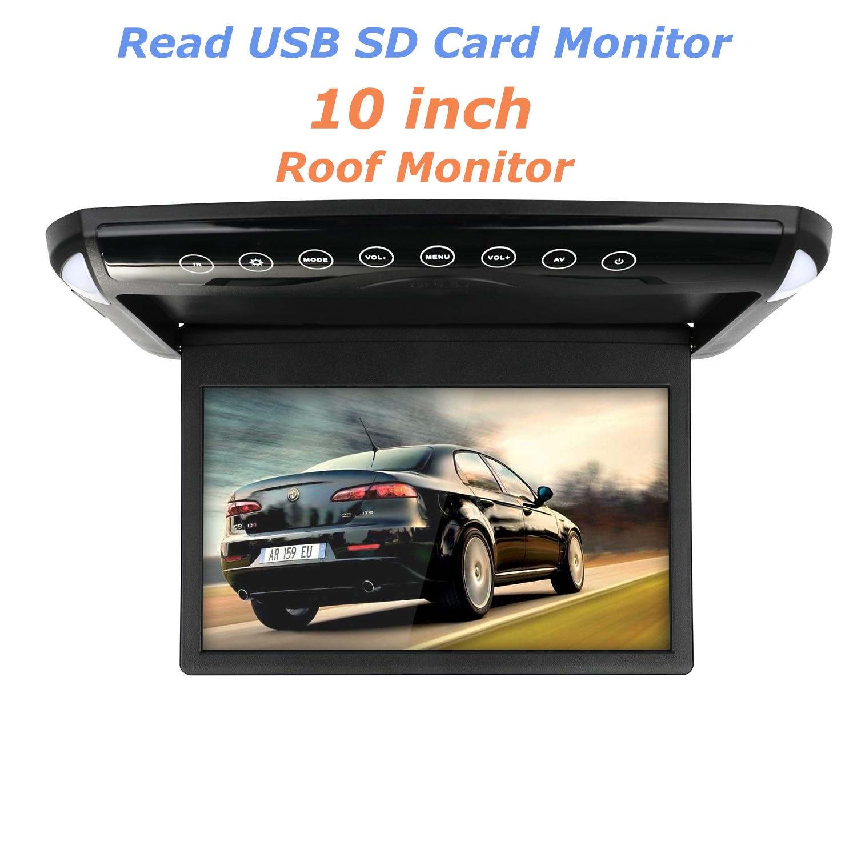 رقيقة جدا 10.1 بوصة رصد السيارة مادة تسقيف للأسطح جبل الوجه أسفل TFT شاشات كريستال بلورية مشغل ديفيدي USB SD MP5 رئيس لعبة