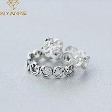 XIYANIKE 925 en argent Sterling Vintage creux souriant visage anneaux coréen à la mode créatif doigt bijoux réglable pour les femmes