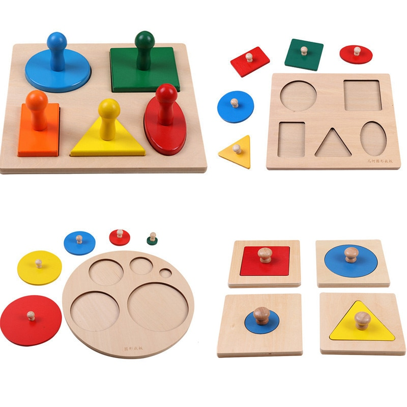 Wooden Geometric Shapes Sorting Math Montessori Puzzle Colorful Preschool Learning Educational Game Baby Toddler Toys new wooden baby toys montessori wood fractional frame learning educational preschool training baby gifts