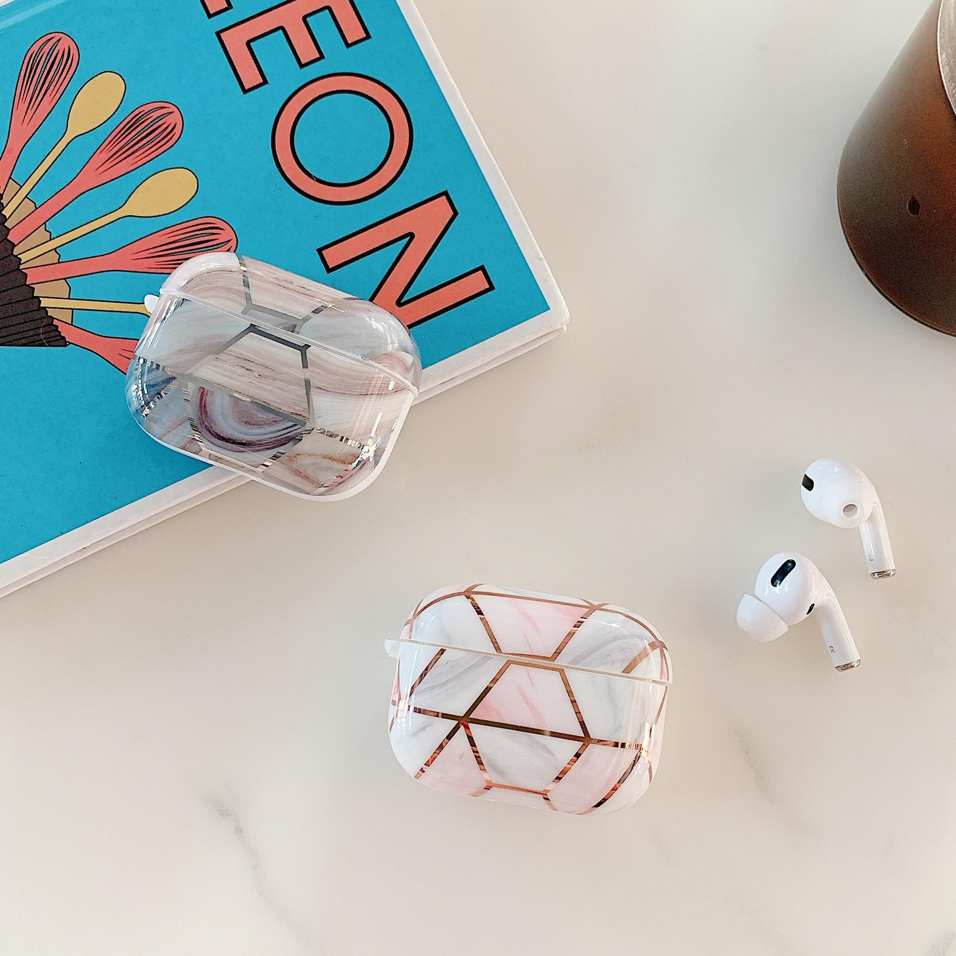 Galvanizado mármore retro caso do fone de ouvido para airpods pro silicone capa sem fio bluetooth para airpods 3 caso