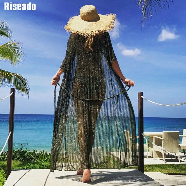 Riseado 2021, парео, Пляжная туника, бикини, накидка, длинное пляжное платье, купальник, полурукав, купальник, сексуальные купальники для женщин|Женская одежда|| | АлиЭкспресс