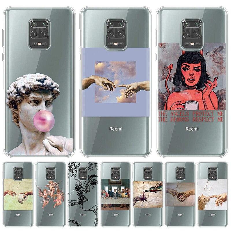 Mona Lisa Art David lines Case For Xiaomi Redmi Note 9 Pro Max 9S 5 Plus 5A 6A 7A 8A S2 K20 Pro Mi 10 9 Pro A2 A1 6X 5X A3 Cover