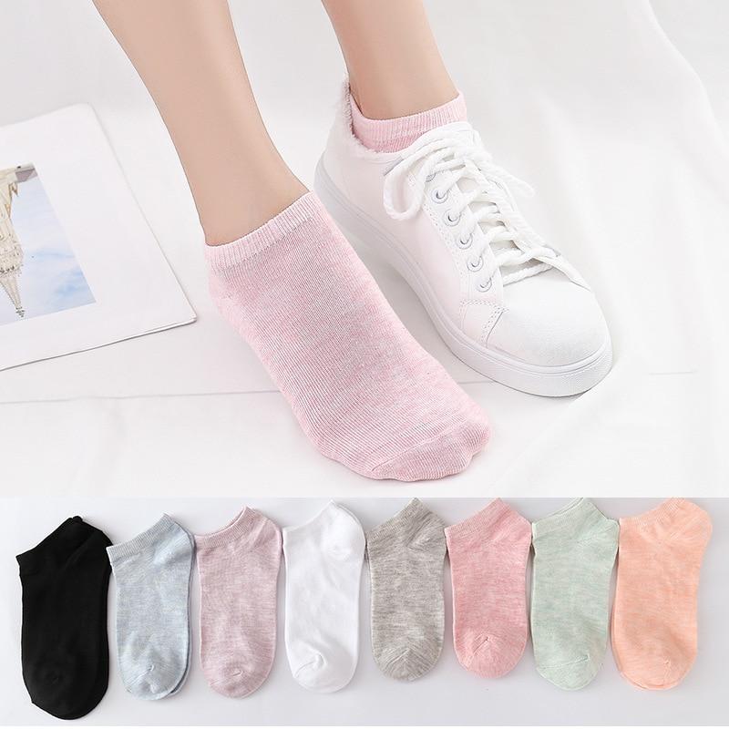1/3/5pair Woman Socks Cotton Short Socks Candy Color Letters Stripe Casual Comfortable Harajuku Socks Thermal Sokken Fashions