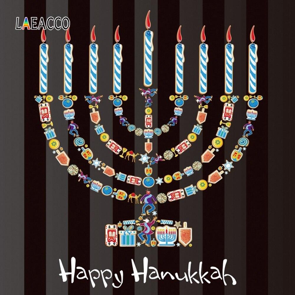 Laeacco preto listras coloridas candlestick fotografia fundos feliz hanukkah photozone rosh hashanah foto backdrops adereços