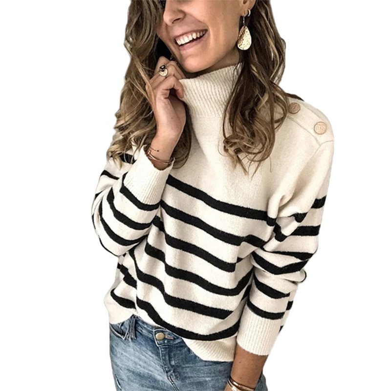 Basic Women Pullover and Sweaters 2020 Autumn Winter Knitwear Turtleneck Oversized Shoulder Buckle Striped Sweater Lady Clothing new 2015 autumn winter baby sweaters children clothing kids sweaters baby boys casual knitwear pullover