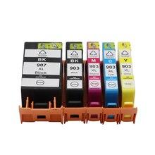 4 couleurs pour HP903 903XL Compatible Cartouche Dencre pour HpOfficejet Pro 6960 6961 6963 6964 6965 6966 Imprimante pour HP907 907XL