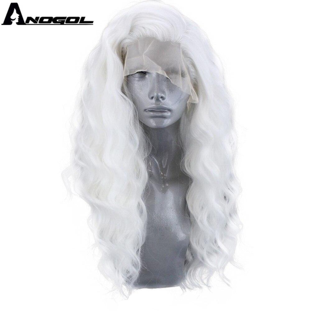 Pelucas delanteras de encaje sintético blanco ANOGOL peluca larga de ondas de agua para mujeres con parte libre de fibra de alta temperatura