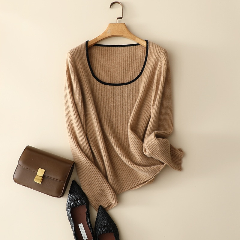 SHUCHAN Square Collar Womens  Knit Pullover Autumn 2021 Spring Cashmere Fall Clothes for Women Fashion Sexy Slim Vintage Top enlarge