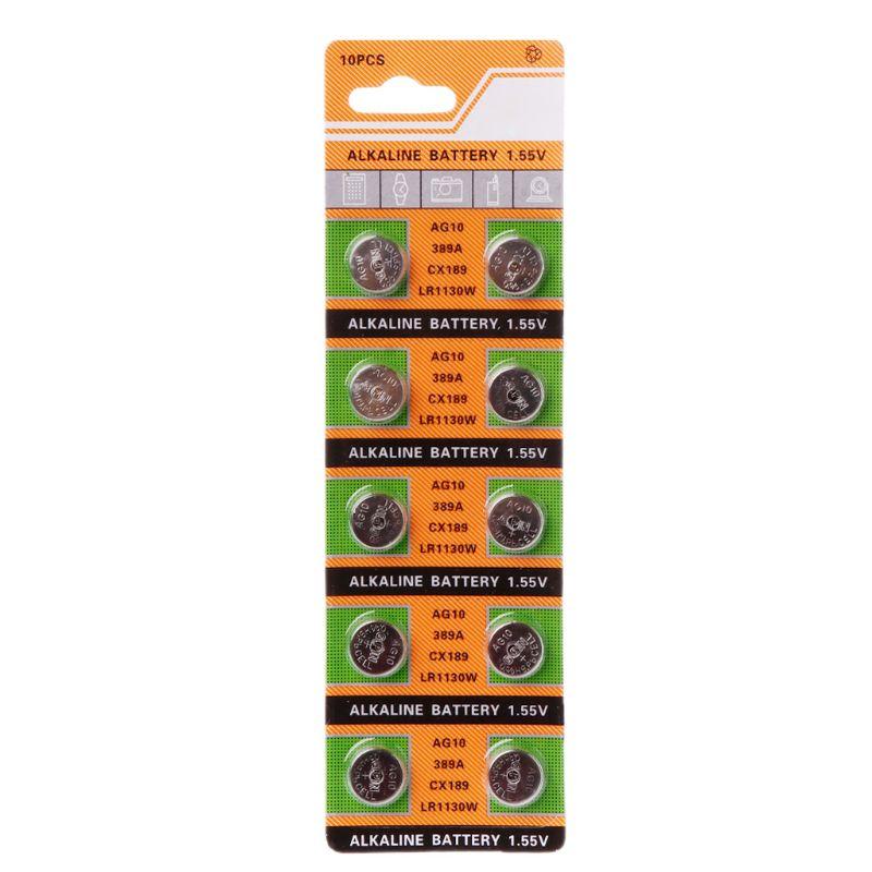 10pcs alkaline battery ag12 1 5v lr43 386 button coin cell watch toys batteries control remote sr43 186 sr1142 lr1142 10PCS Button Coin Cell Battery AG10 1.5V Watch Batteries SR54 389 189 LR1130 SR1130 Toys Control Remote