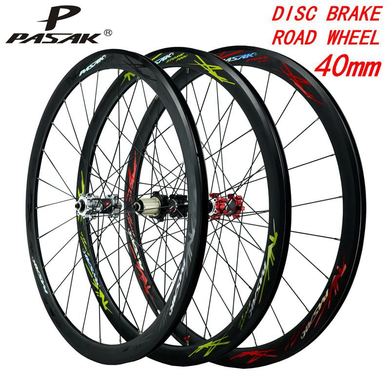 700C disco bicicletas con frenos ruedas de bicicleta de carretera aleación 40mm Clincher 6 pernos Centro de bloqueo 9mmQR10 0/135 Borde de aluminio dibujar los radios