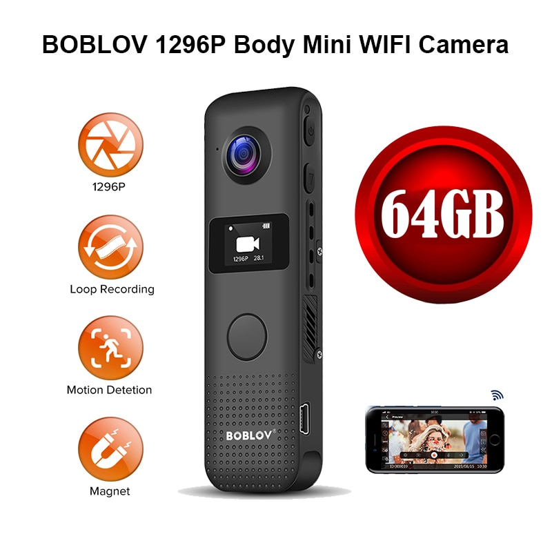 BOBLOV كاميرا صغيرة HD 1296P المهنية 64G واي فاي الجسم يرتديها كاميرا دقيقة المغناطيس كشف الحركة حلقة تسجيل كاميرا الفيديو