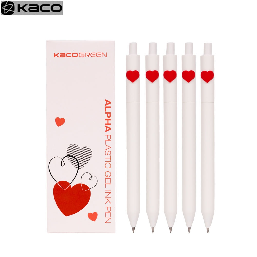 YOUPIN Kacogreen Kaco amour Gel stylo signe stylo 0.5mm stylo noir encre stylo à bille noyau Durable signature stylo ABS plastique encre lisse