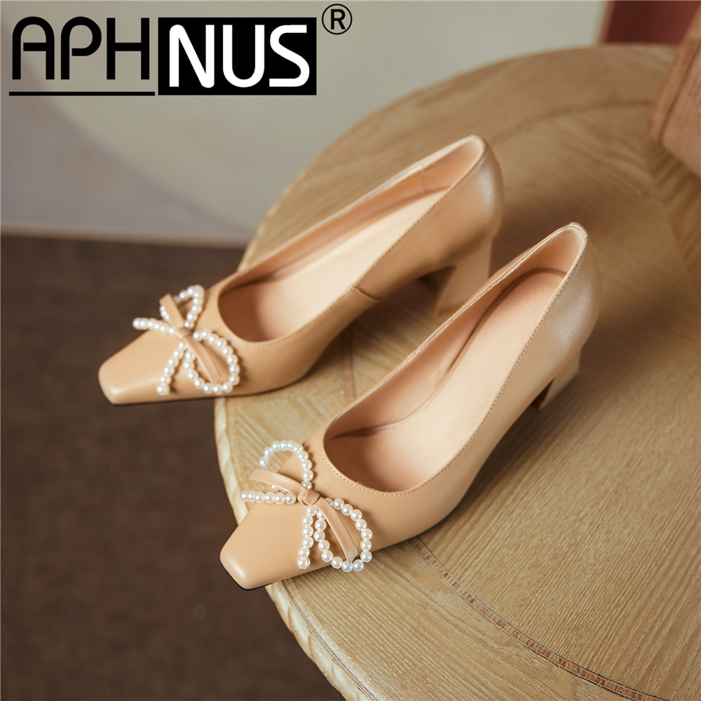 APHNUS Womens Shoes Beading Pearl Bowtie Mid High Heels Pumps Woman 2021 Shoes For Women New