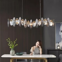 wave design modern crystal light chandelier for dining room luxury smoky gray cristal lamps brief kitchen island hang lamps