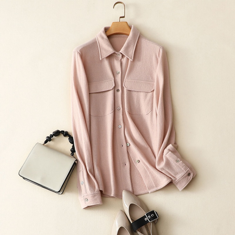 100% Cashmere Blouse Women Shirt Casual Style Turn-down Collar Long Sleeves Pockets Simple Design Top New Fashion