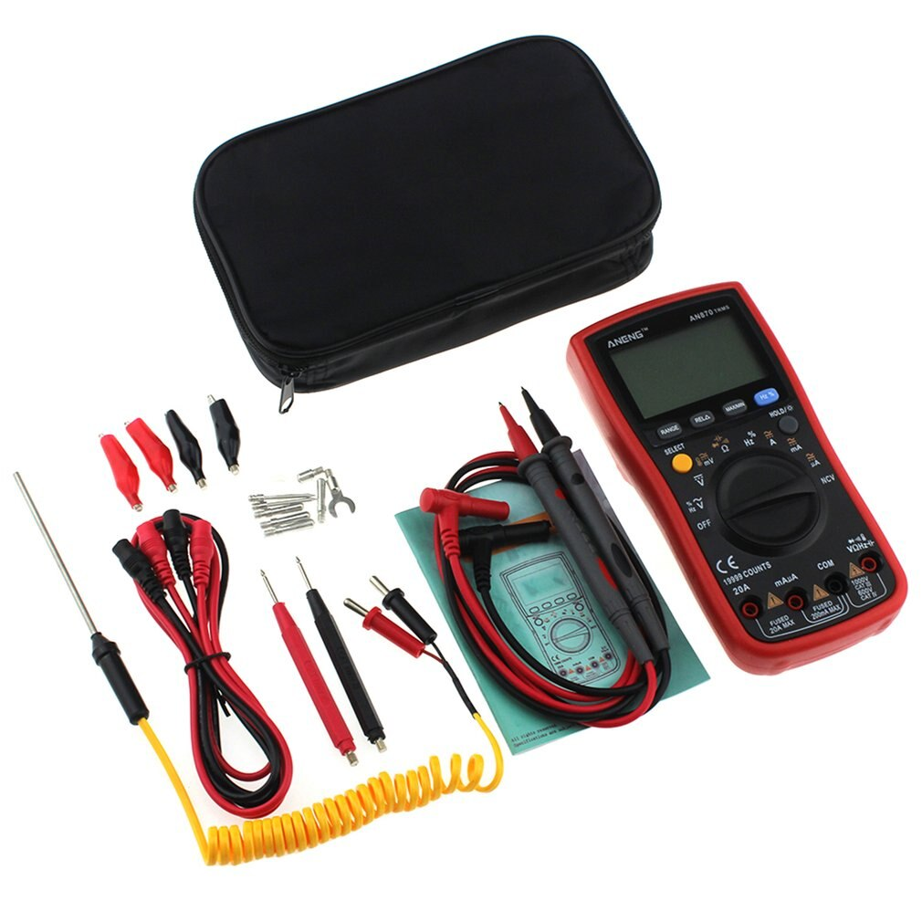 Aneng an870 multímetro digital 19999 contagens verdadeiro rms acdc voltímetro ohmímetro capacitância frequência temperatura transistor tester