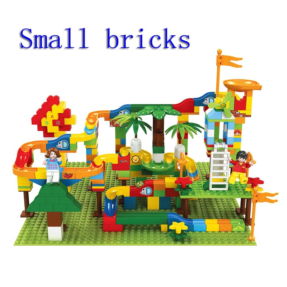 Smal Bricks Ball Race Track Toys Marble Race Run Maze Balls Track Building Blocks Funnel Slide Building Brick Compatible Blocks
