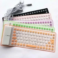 85 keys portable soft foldable keyboard waterproof usb connector two color silicone roll up silent keyboard for pc laptop