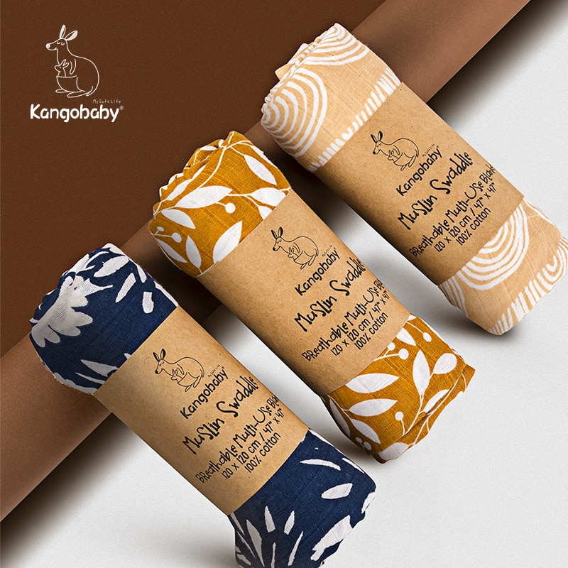 Kangobaby القطن العضوي الشاش قماط بطانية شيالة أطفال الوليد ديكور التصوير مانتا الفراش عربة غطاء 120x120 سنتيمتر 3 قطعة