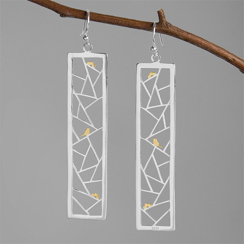 Женские серьги-капельки INATURE из стерлингового серебра 925 пробы в минималистическом стиле с изображением птицы на окне, ювелирные изделия из ...
