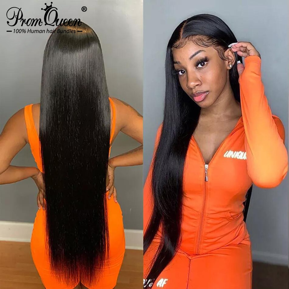 26 28 30 32 Inches 4x4 Straight Human Hair Lace Closure Wigs BrazilianTransparent Remy Human Hair La
