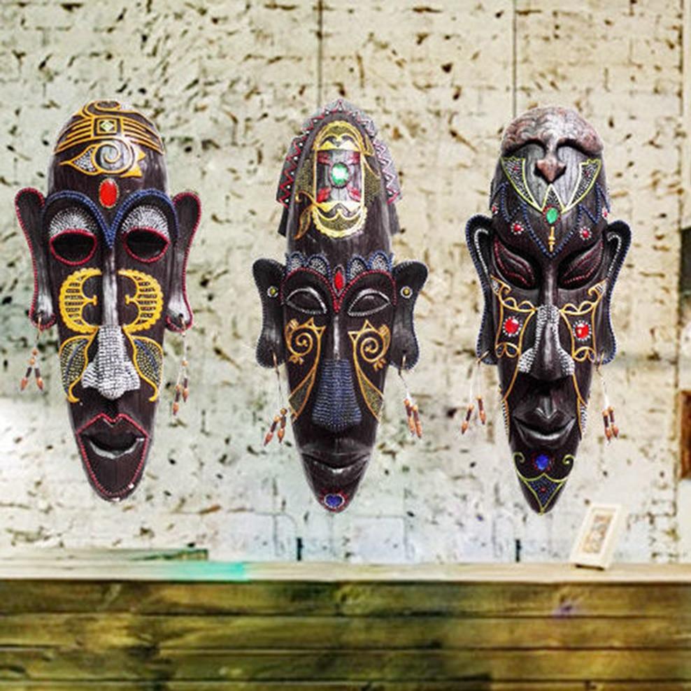 الراتنج قناع الجدار الشنق الأفريقي قناع الجدار الديكور الرجعية ثلاثية الأبعاد قلادة KTV بار شخصية الديكور الحلي