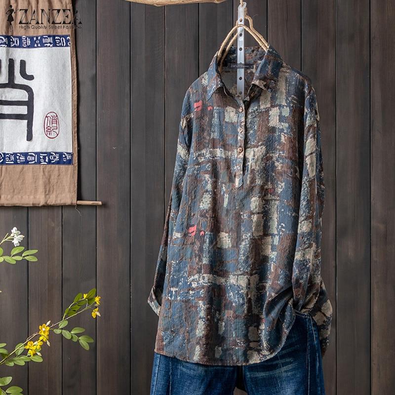¡Otoño 2020! Blusa ZANZEA con estampado Floral para mujer, Tops de manga larga y cuello redondo, camisas Vintage, blusas sueltas informales para mujer