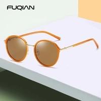 fuqian 2020 new luxury round women polarized sunglasses brand design metal frame ladies sun glasses mirror pink eyewear oculos