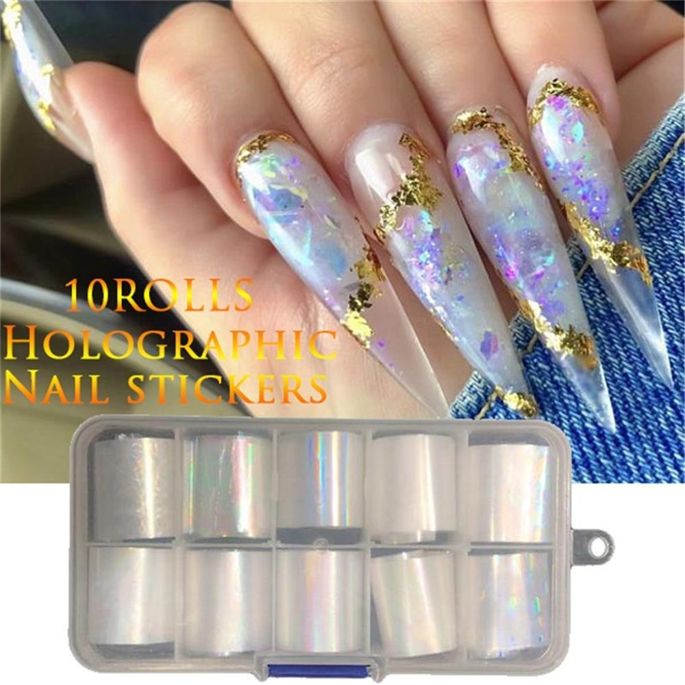 10 Rolls/Box Holographic Nail Foil Set Gradient Color Transfer Sticker Manicure Nail Art Decals Laser Shinning Mixed Beauty TIps 10pcs holographic nail foil set transparent ab color transfer sticker decorations 2 5 100cm mix designs manicure nail art decals