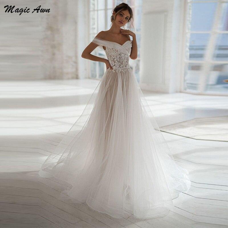 Magic Awn Graceful Princess Wedding Dresses Lace Appliques Off The Shoulder Boho Beach Mariage Gowns Illusion Abito Da Sposa недорого