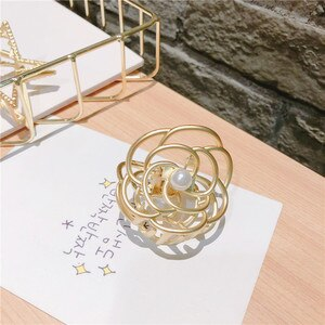 Korean version star hair trim clip Korean version dumb gold simple geometry hollow grab student hairpins headwear headdress