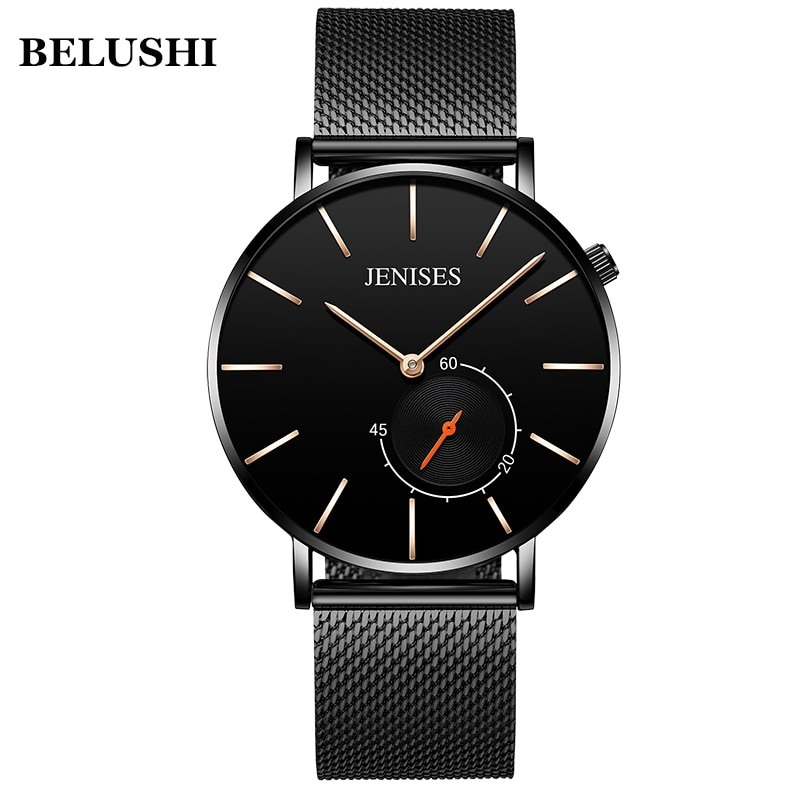 Reloj de cuarzo de JENISES ultradelgado a la moda para hombre