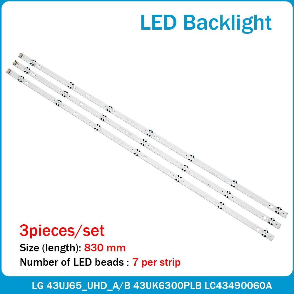 3 PCS 7LED tira retroiluminação LED para LG 43LJ594 43LJ624V 43LJ634V 43LJ614V 43LJ610V 43LJ61_FHD_S L LC43490063A 43LJ5150 43LH515V