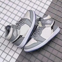 2020 New Brand Authentic OG Grey And White 1:1 Men's High Top Basketball Shoes Shoes Outdoor High Qu