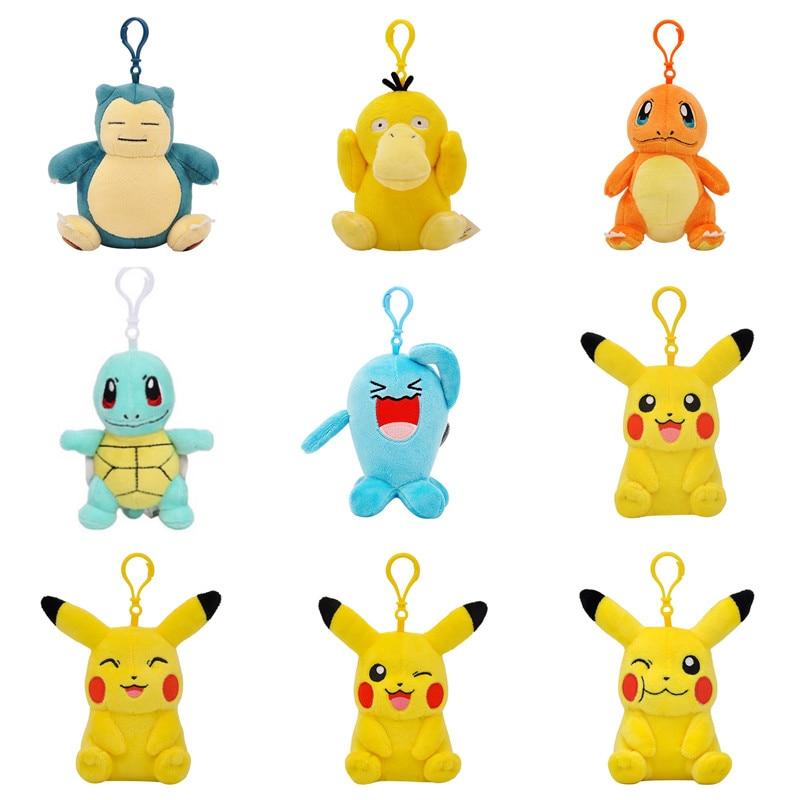 Pokémon Pikachu Pendant Doll Kawaii Snorlax Squirtle Charmander Plush Toy Phone Keychain Pendant Children And Girls Gifts new 7 styles ampharos garchomp hydreigon charizard maniac tyranitar snorlax pikachu 18cm plush doll