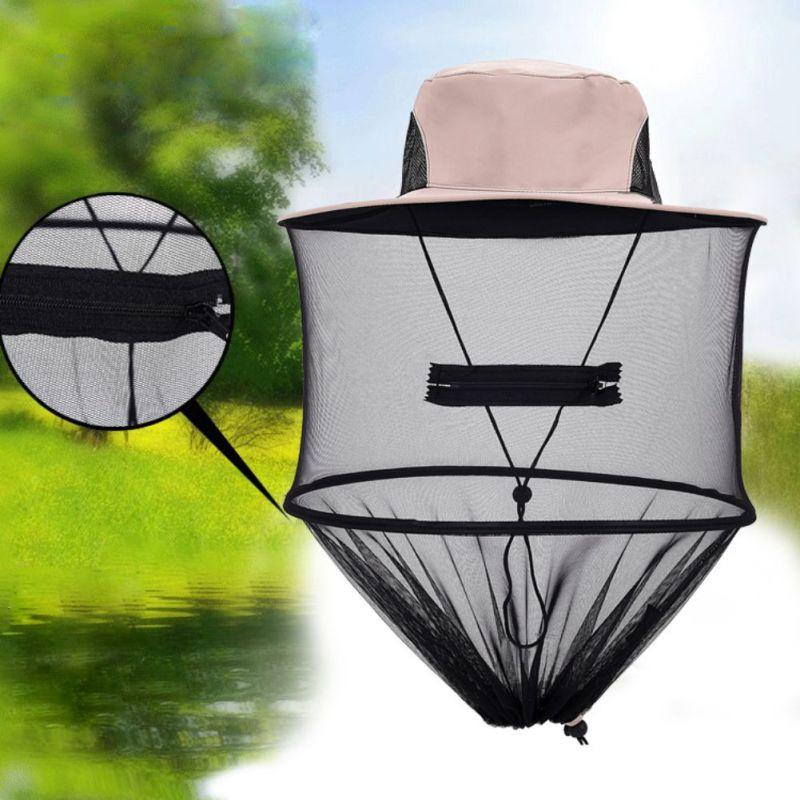 Pesca al aire libre plegable ocio a prueba de ultravioleta apicultura Anti-mosquito malla sombrero Mosquito cabeza gorra de red con malla oculta