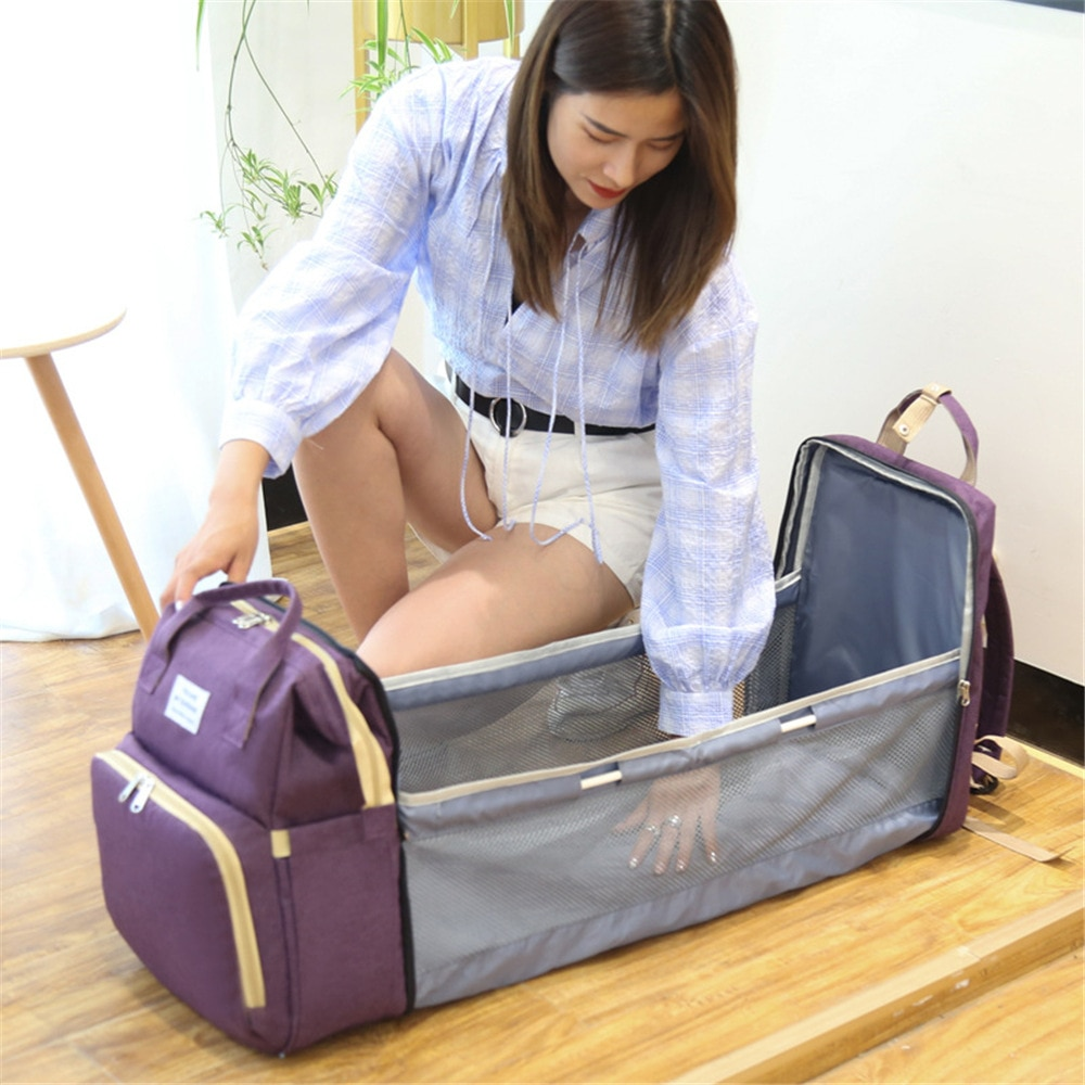 New portable foldable crib Mommy bag multi-function portable large capacity leisure backpack for mother and baby