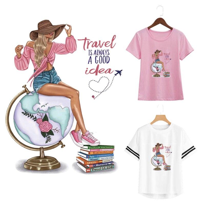 Calcomanías geniales, parche de viaje, pegatinas para chicas, accesorio Diy, plancha de transferencia de calor, en ropa de moda, Parches, libro globo
