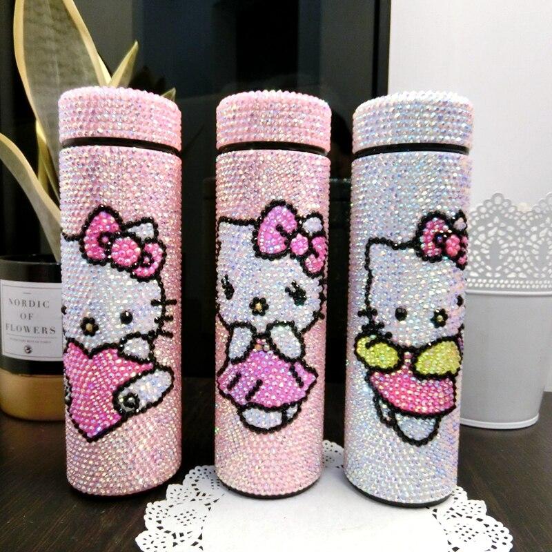 Frascos de Vácuo Garrafas de Água Tumbler de Aço Presentes para Crianças Strass Thermoses Inoxidável Kitty Kawaii Meninas Isolado Tumbler